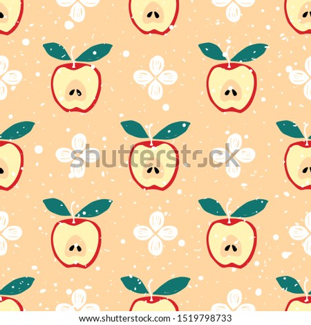 Apples and flower vector seamless pattern. Seamless vector pattern with red apples and white flowers on light color background. Fruit background. Apple and abstract flower vector seamless pattern.