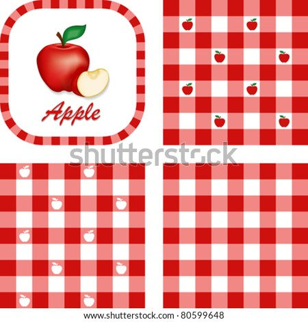 Apples and Gingham Seamless Patterns in 3 designs. EPS8 file has 3 check pattern swatches (tiles) that will seamlessly fill any shape.