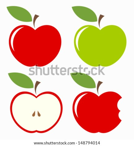 Apples. Set of red, green, bitten and half of fruit with leaf. Vector illustration