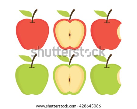 apples set of red  green