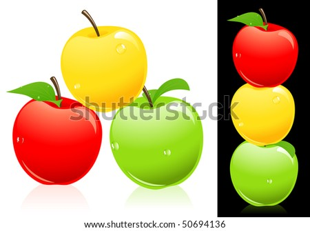Apples three different colors, vector illustration