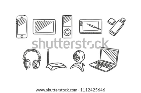 Appliances and devices for home and office hand drawn icons set with mobile, tablet, mp3 player, headphones, camera, router, wifi, usb flash, web, web camera, wack, gadget, laptop. Vector illustration