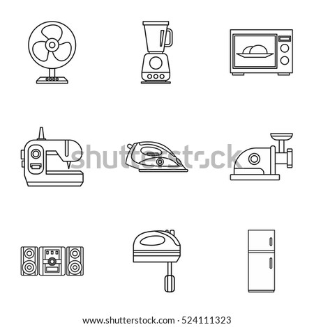 appliances icons set outline