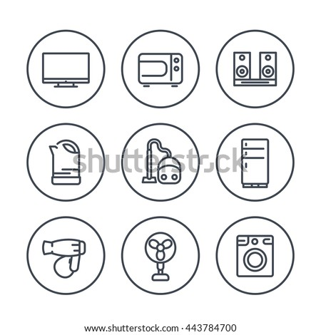 appliances line icons in circles
