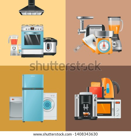 Appliances realistic. Home electrical equipment refrigerator washing machine microwave blender mixer hood gas stove vector collection. Equipment stove and microwave, coffee machine illustration