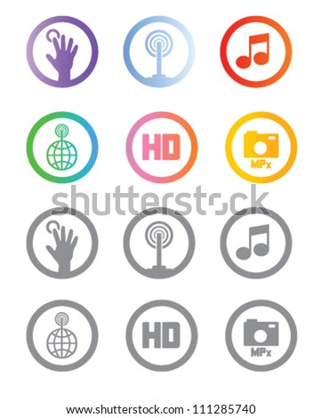 Application and capabilities icons or symbols for mobile devices as phones or tablet pc