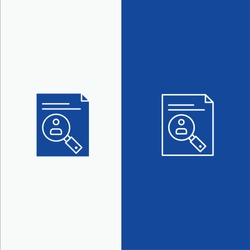 Application, Clipboard, Curriculum, Cv, Resume, Staff Line and Glyph Solid icon Blue banner Line and Glyph Solid icon Blue banner