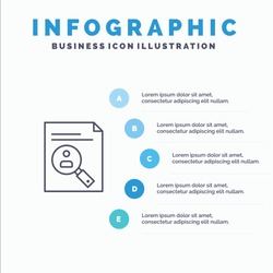 Application, Clipboard, Curriculum, Cv, Resume, Staff Line icon with 5 steps presentation infographics Background