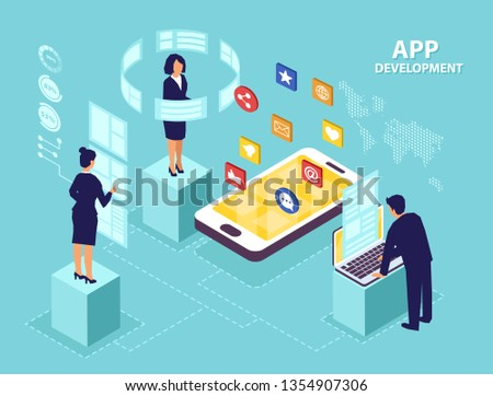 Application development concept. Isometric vector of business people software engineers developing new mobile apps.