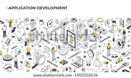 Application development life cycle. Stages of software development from idea to the final product: idea, design, analysis, coding, testing, and support. Isometric illustration concept Foto stock ©