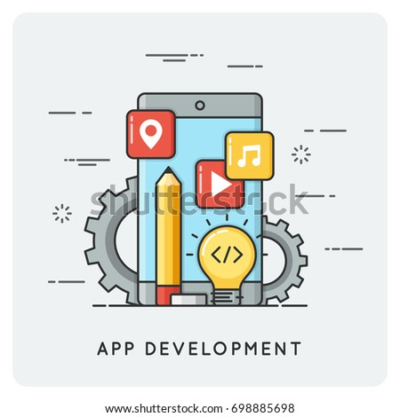 Application development. Vector flat line illustration.