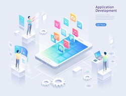 Application development vector isometric illustrations.