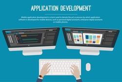 Application development web banner. Developer workplace, double screen workstation. Technology concept. Vector illustration.