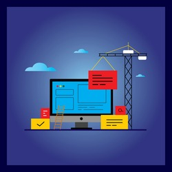 Application development with API interface flat vector illustration design. Technology concept for software API prototyping and testing. Design for web banners and apps.