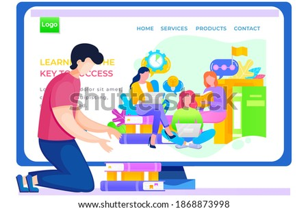Application for studying business online landing page template. Guy kneeling puts books in a stack. Man is studying via the internet. Paid program for adult students. Internet school website layout