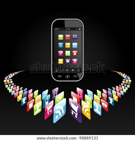 Application icons for mobile device in circle on black background. Vector file layered for easy manipulation and customisation. - stock vector