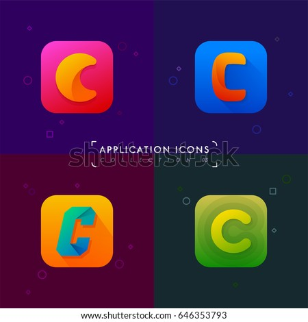 Application icons set 03. Letter C collection. Logo elements in material design style