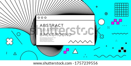 Application interface window elements with geometric memphis style bauhaus shapes and patterns. Retro futurism background with bright colors. Eps10 vector.