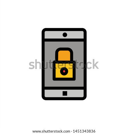 Application, Lock, Lock Application, Mobile, Mobile Application  Flat Color Icon. Vector icon banner Template