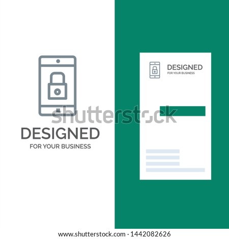 Application, Lock, Lock Application, Mobile, Mobile Application Grey Logo Design and Business Card Template