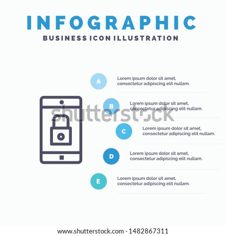 Application, Lock, Lock Application, Mobile, Mobile Application Line icon with 5 steps presentation infographics Background