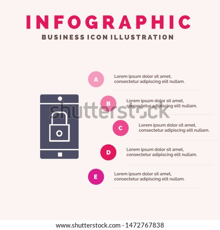 Application, Lock, Lock Application, Mobile, Mobile Application Solid Icon Infographics 5 Steps Presentation Background