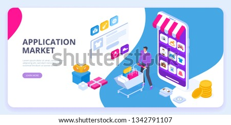 Application market concept. Discover new applications. Mobile application development, smartphone app programming. Can use for web banner, infographics, hero images. Isometric vector illustration.
