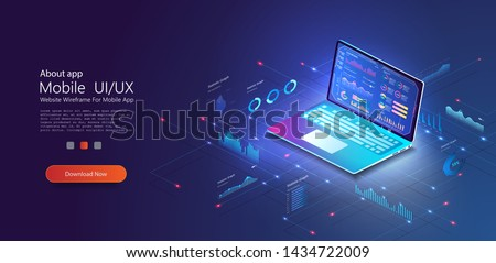 Application of laptop with business statistics and data Analytics. Digital money market, investment, finance and trading. Perfect for web design, banner and presentation. Isometric vector illustration