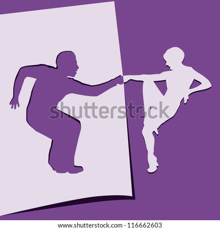 Application of paper dancing men and women. Vector illustration.