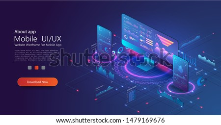Application of PC and smartphone with business graph and analytics data. Business statistics charts, diagrams vector concept. Financial analytics banner template. Analytics data diagram, chart. Vector
