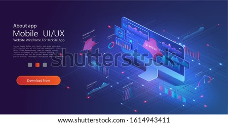 Application of PC with business graph and analytics data on isometric PC . Analysis trends and financial strategy by using infographic chart. Online statistics and data Analytics. Vector