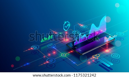 Application of Smartphone with business graph and analytics data on isometric mobile phone. Analysis trends and financial strategy by using infographic chart. Vector concept illustration