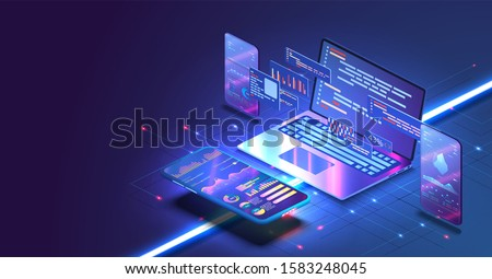 Application of Smartphone with business graph and analytics data on isometric mobile phone. Analysis trends and software development coding process concept. Programming, testing cross platform code
