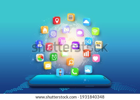 Application on Mobile, smartphone with application icons isolated on global network background as new technology and communication concept. vector illustration.
