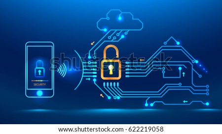 Application on the mobile phone monitors the security of the house, car. Cloud technology provides the exchange of information between things. Vector illustration electronic print circuit board style
