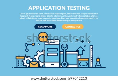 Application programming and testing. Flat design graphic hero image concept, website elements layout. Vector