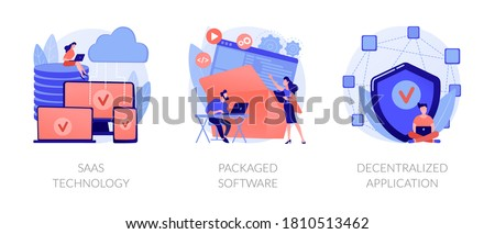 Application service abstract concept vector illustration set. SaaS technology, packaged software, decentralized application, cloud computing, software licensing, subscription abstract metaphor.