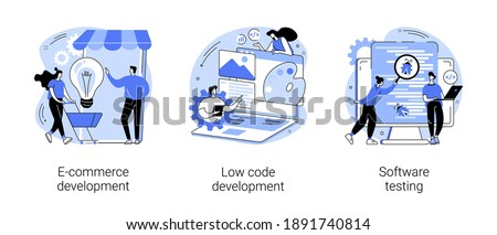 Application software abstract concept vector illustration set. E-commerce development, low code development, IT software testing, online shopping app coding, QA team, bug fixing abstract metaphor.