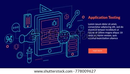 Application Testing Concept for web page, banner, presentation. Vector illustration