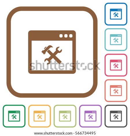 Application tools simple icons in color rounded square frames on white background