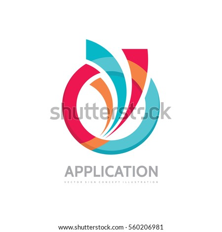 Application - vector business logo concept illustration. Colored ring with abstract shapes. Positive geometric sign in optimism style. Design element.