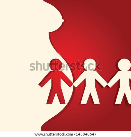 Applique on pregnancy with abstract human figures. Vector illustration. #145848647