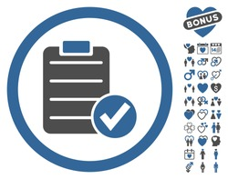 Apply Form icon with bonus decorative pictograph collection. Vector illustration style is flat iconic cobalt and gray symbols on white background.