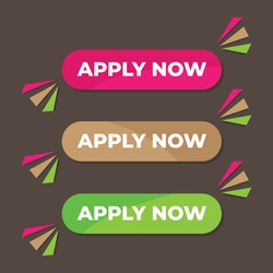 Apply now button. Great vectors for social media, web, applications, computers, laptops, multimedia etc.