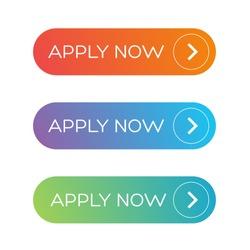 Apply Now button set vector