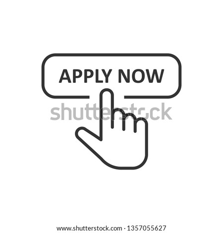 Apply now icon in flat style. Finger cursor vector illustration on white isolated background. Click button business concept.