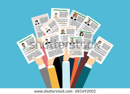 Applying for job, giving CV, job competition vector concept