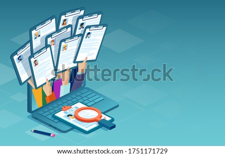 Applying for job online concept. Vector of multiple people applying for work position giving CV out from a laptop computer Сток-фото ©