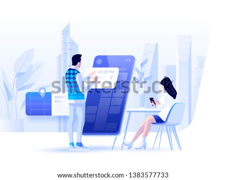 Appointment and booking application.  People chat and choosing the date and time using smartphones. Vector illustration