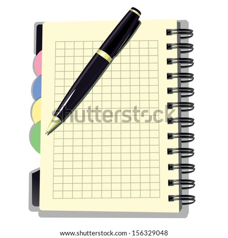 Appointment Book with Pen. Vector illustration